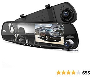 """Pyle Dash Cam Rearview Mirror - 4.3"""" DVR Monitor Rear View Dual Camera Video Recording System in Full HD 1080p w/ Built in G-Sensor Motion Detect Parking Control Loop Record Support - PLCMDVR49"""