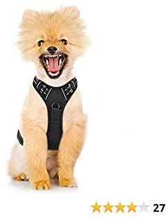 Dog Harness No-Pull Pet Harness Adjustable Outdoor Vest 3M Reflective Oxford Material Easy Control for Small Medium Large Dog (S (Chest:13.78 -25.59 '' ), Black)