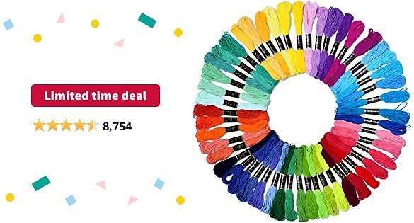 Limited-time Deal: Embroidery Floss Rainbow Color 50 Skeins Per Pack Cross Stitch Threads Friendship Bracelets Floss Crafts Floss