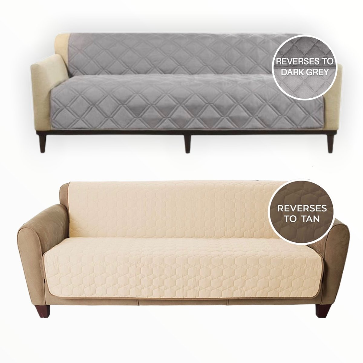 SureFit Reversible Couch / Bed Cover - Design Makes This Couch Cover a Perfect Fit for All Types of Furniture Including Your Sofa, Futon or Bed. - Super Durable Protecting from Pets, Kids and All Kinds of Stains! - Machine...