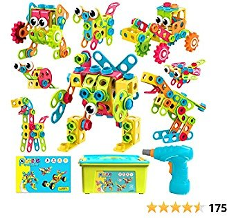 HOMOFY STEM Toys 191Pcs Building Toys Kit Educational Toys Construction Engineering Brickyard Building Blocks Best Kids Gift for Ages 3 4 5 6 7 8 Year Old Boys & Girls