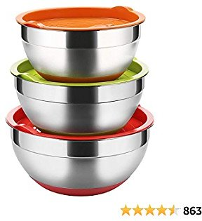 Stainless Steel Mixing Bowls with Lids (Set of 3), Non Slip Colorful Silicone Bottom Nesting Storage Bowls By Regiller-yyi, Polished Mirror Finish For Healthy Meal Mixing and Prepping 2.5 - 3.5-4.2QT