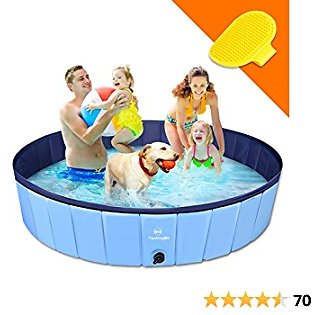 XL Dog Kiddie Pool 40% OFF SALE - 100% PVC Slip-Resistant 63'' Foldable OutdoorPools with Bath Brush for Dogs Cats and Kids