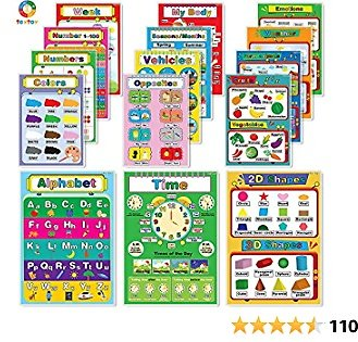 My First Educational Posters, Laminated Preschool Poster for Toddler and Kid, Learning Numbers Shapes Colors Alphabet Poster Set, Great for Pre-K, Kindergarten, Daycares and Home School Supplies(15pcs)