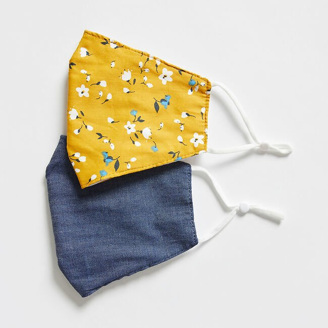 Nautica Floral Print and Denim Reusable Face Mask, 2 Pack