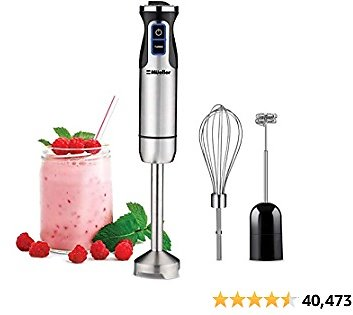 Mueller Austria Ultra-Stick Multi-Purpose Hand Blender Heavy Duty Copper Motor Brushed Stainless Steel With Whisk, Milk Fro