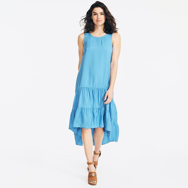 SUSTAINABLY CRAFTED TIERED HIGH-LOW DRESS