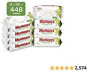 HUGGIES Natural Care Unscented Baby Wipes, Sensitive, 8 Flip-top Packs, 448 Count