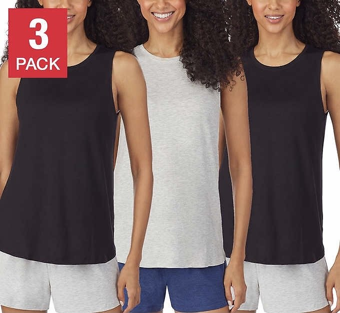 Jane and Bleecker Ladies' Lounge Tank, 3-pack (2 Colors)