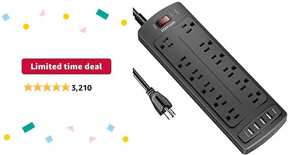 Power Strip with 8 Ft, POWLIGHT Surge Protector 12 AC Outlets and 4 USB Charging , 2100 Joules,.