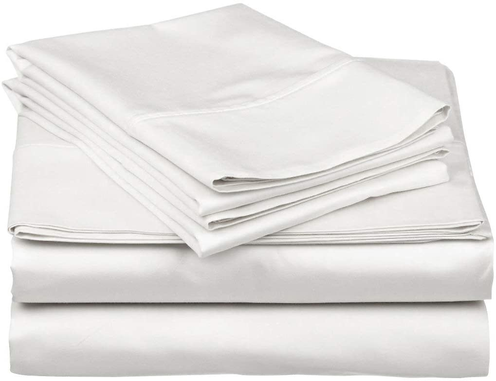 True Luxury 1000-Thread-Count 100% Egyptian Cotton Bed Sheets, 4-Pc King White Sheet Set, Single Ply Long-Staple Yarns | Amazon