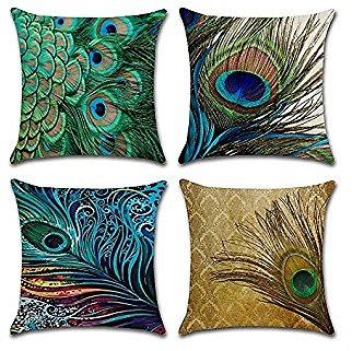 Set of 4 Throw Pillow Covers, Peacock Feather Decorative Throw Pillow Cases, Cotton Linen Square Cushion Cover Outdoor Sofa Home Pillow Covers 18 X 18 Inch