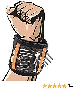 Magnetic Wristband with Strong Magnets, Tool Belt with 15 Magnets for Holding Screws, Nails, Drill Bits, Tools Gadget Gifts for Men, Him, Father/Dad, Husband, Boyfriend