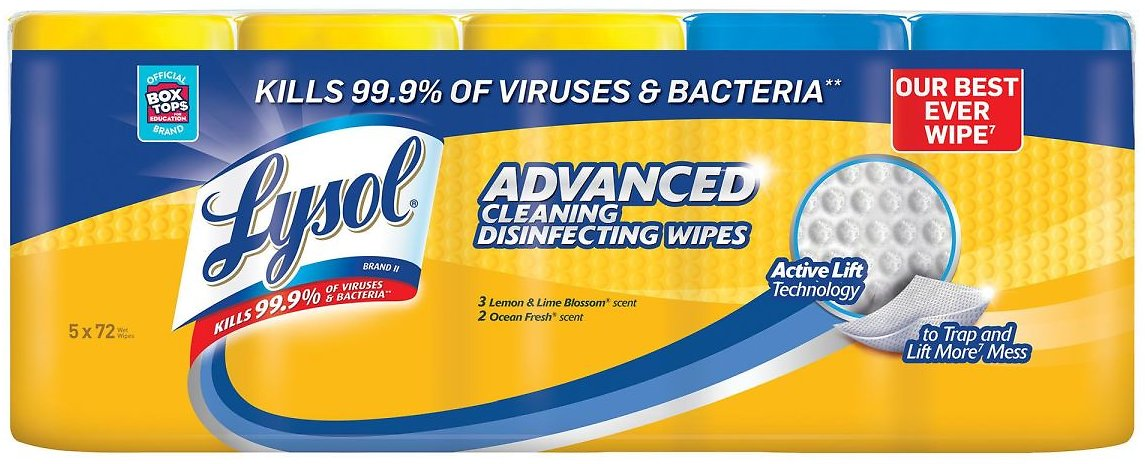Lysol Advanced Cleaning Disinfecting Wipes (5 Pack of 72ct)
