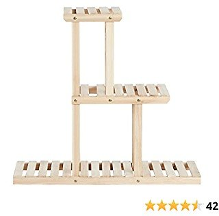 SONGMICS Plant Stand, Small Solid Wood Plant Holder Rack with 6 Spots for Flower Pots, 3-Tier Indoor Plant Shelf, for Small Spaces, Living Room, Balcony, Corners, Natural UGPS001N01