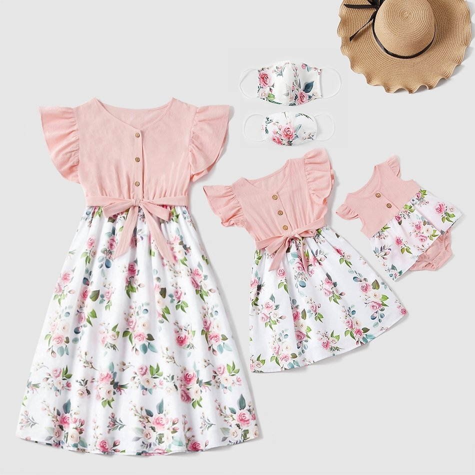 Mosaic Flutter-sleeve Pink Stitching White Floral Matching Midi Dresses