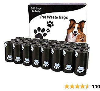 HaoDeng Dog Poop Bags, Extra Thick and Strong Poop Bags for Dogs, Guaranteed Leak-Proof, 15 Doggy Bags Per Roll, Each Dog Poop Bag Measures 9 X 13 Inches, 24Rolls, 360 Bags