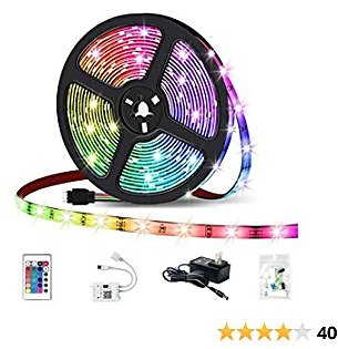 HaoDeng LED Light Strip RGB Strip Lights LED Tape Lights Compatible with Alexa and Google Home, Comes with 16.4ft IP65 5050 RGB 150 LEDs Smart WiFi Strip Lights, Remote Control By Phone