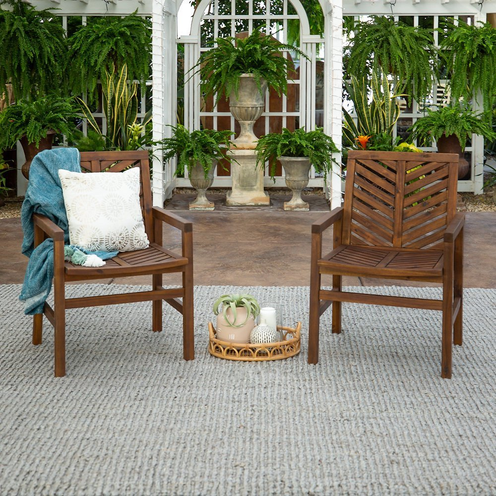 Outdoor Wood Dark Brown Patio Chairs with Chevron Design (Set of 2) By Manor Park