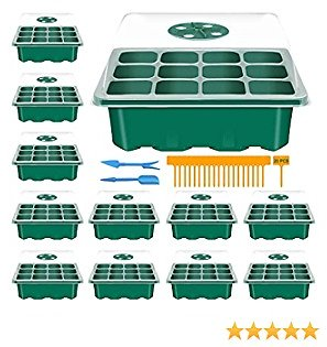 NQN 12 Pack 144 Cells Seed Trays Seedling Starter Tray Humidity Adjustable Plant Starting Kit (12 Cells Per Tray)