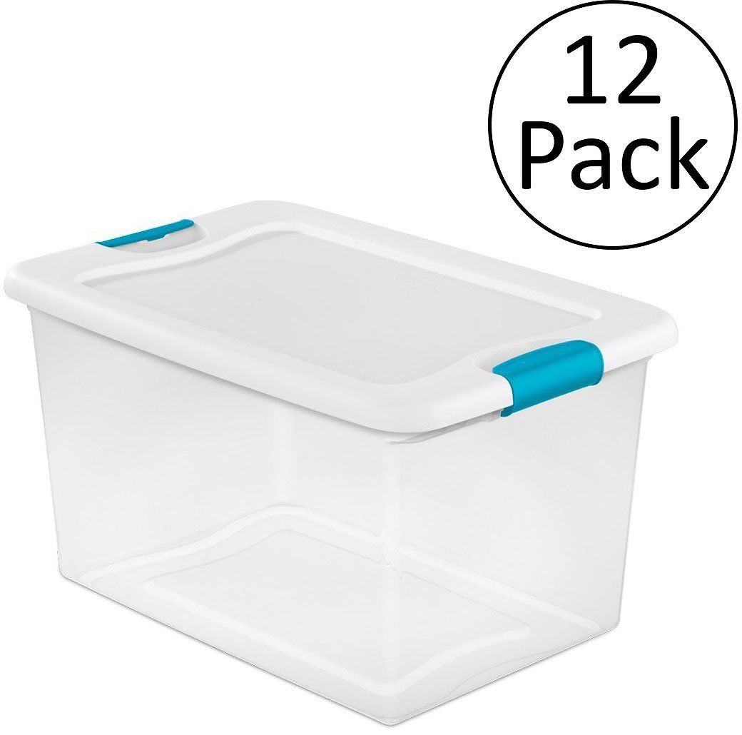 Plastic Storage Box, Clear w/ Blue Latches (12 Pack)