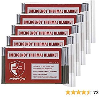 Emergency Mylar Thermal Blankets Survival Foil Space Blanket, Pack of 5, Retains 90% of Heat, Waterproof, Survival Gear Emergency Kit for Hiking, Camping, Outdoors, Survival, Marathons, First Aid