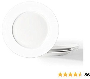 Artena Elegant White Premium Porcelain Dinner Plates Set of 4, 9 Inches Salad Plates Serving Plates for Restaurant, Kitchen and Family Party Use, Lunch Plates Microwave & Dishwasher Safe