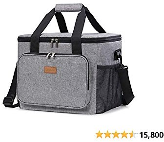 Lifewit Collapsible Cooler Bag Insulated 24L ( 40-Can ), Large Leakproof Soft Sided Portable Cooler Bag for Outdoor Travel Beach Picnic Camping BBQ Party, Grey