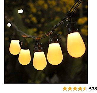 Govee 48FT Outdoor String Lights, Shatterproof Remote Patio Lights with 15 Dimmable Warm Yellow LED Bulbs, Waterproof Outdoor LED Lights for Deck, Backyard, Gazebo, Garden, Party