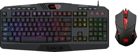 REDRAGON S101-3 Wired Gaming Keyboard and Optical Mouse Gaming Bundle with Back Lighting Black S101-3