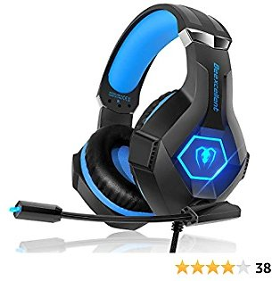 Gaming Headset for PS4 IKiKin Xbox One Headset with Mic, Stereo Surround Sound Noise Canceling Deep Bass LED Light, Wired Over Ear Gaming Headphones for PC IPad Laptop (Blue)