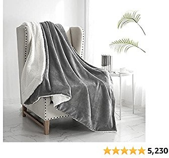 """Walensee Sherpa Fleece Blanket (Throw Size 50""""x60"""" Grey) Plush Throw Fuzzy Super Soft Reversible Microfiber Flannel Blankets for Couch, Bed, Sofa Ultra Luxurious Warm and Cozy for All Seasons"""