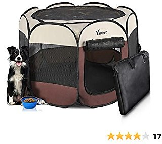 Ysding Portable Foldable Pet Playpen and Puppy Playpen with Free Carrying Case Collapsible Travel Bowl,Indoor/Outdoor Use and Available in Brown 3 Sizes for Various Sizes Dog/Cat/Puppy/Rabbit…