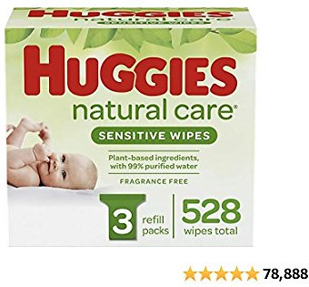 Huggies Natural Care Sensitive Baby Wipes, Unscented,.,.