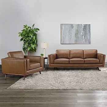 Positano 2-piece Leather Sofa and Chair Set