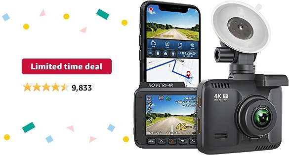 Limited-time Deal: Rove R2-4K Dash Cam Built in WiFi GPS Car Dashboard Camera Recorder with UHD 2160P, 2.4