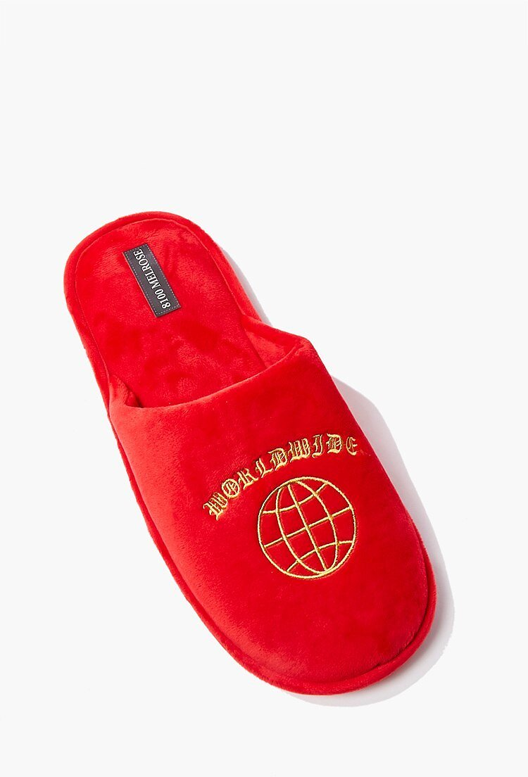 Men Worldwide Embroidered Graphic Slippers | Forever 21