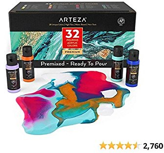 Arteza Acrylic Pouring Paint, Set of 32, 2oz Bottles, Assorted Colors, High Flow Acrylic Paint, No Mixing Needed, Art Supplies for Pouring On Canvas, Glass, Paper, Wood, Tile, and Stones