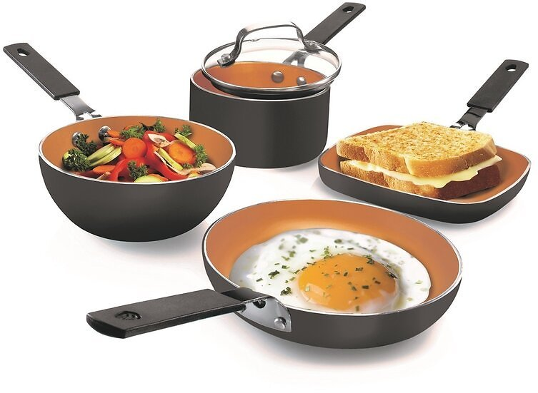 Gotham Steel Stackmaster Stackable Space Saving 5 Piece Copper Non Stick Mini Cookware Set