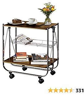 Folding Kitchen Cart On Wheels 2 Shelves in Walnut Look, Robust Metal Frame, Storage and Transport Options for Kitchen, Living Room or Terrace, for Breakfast, Drinks or Barbeque, 26,8 X 27,6 X 16 Inch