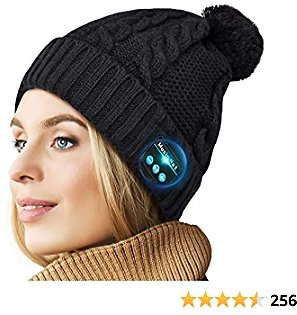 Bluetooth Beanie V5.0 Bluetooth Hat, Wireless Earphone Beanie Headphones, Pompon Beanie with HD Stereo Speakers Built-in Microphone, Christmas Electronic Gifts for Women Girls Outdoor Sports Running