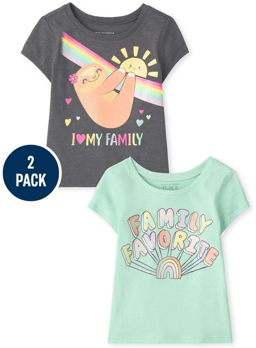 $3.79 Baby & Toddler Girls 2-Pack Family Graphic Tee + F/S