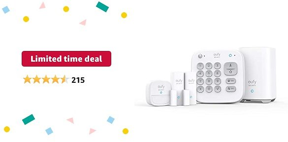 Limited-time Deal: Eufy Security 5-Piece Home Alarm Kit, Home Security System, Keypad, Motion Sensor, 2 Entry Sensors, Home Alarm System, Control from The App, Links with EufyCam, Optional 24/7 Protection Service