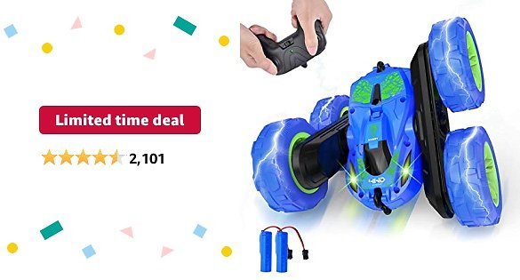 Limited-time Deal: Remote Control Cars 4WD Rotating RC Car: 2.4GHz Flips Stunt Car Remote Control Toy Cars Boys for Toys Gifts for Kids 5-8 Years Old