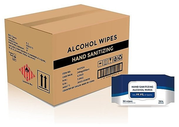 24-Count 50-Pack Hand Sanitizer Alcohol Wipes