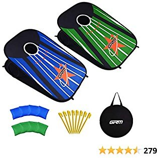 GRM Cornhole Outdoor Game Bean Bag Toss Game Toy for Kids, Outdoor Indoor Tic Tac Toe Game Cornhole Game Boards 3'x2' and 8 Corn Hole Bags for Toddlers Kids All Age