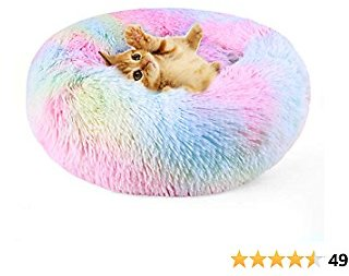 DADYPET Cat Bed Donut Cozy Dog Bed, Soft Plush Self-Warming Rainbow Sleeping Bed Machine Washable Durable Pet Bed Anti-Slip Water-Resistant Bottom for Cat Dog. M(21.63