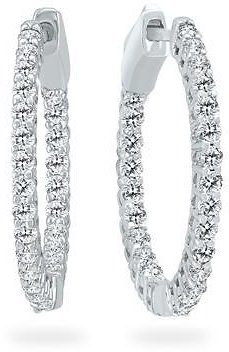 1 Carat TW Round Diamond Hoop Earrings with Push Down Button Lock in 14K White Gold