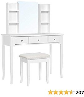 (35% OFF) VASAGLE, Multifunctional Computer Armoire Hutches, Vanity Set Makeup Dressing Table with Mirror, Cushioned Stool