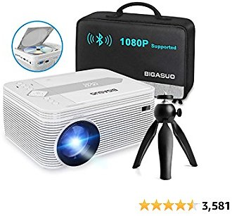 BIGASUO [2021 Upgrade] Full HD Bluetooth Projector with Built-in DVD Player, Portable Mini Projector Compatible with IPhone/iPad/HDMI/VGA/AV/USB/TF SD Card, 720P Native 1080P Supported